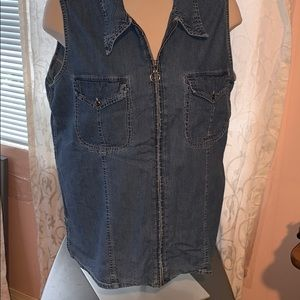 Vintage Encore sleeveless jean shirt with zipper